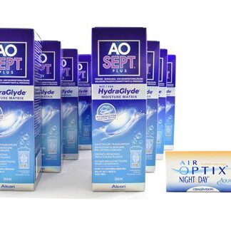 Air Optix Night & Day Aqua 4 x 6 Monatslinsen + AoSept Plus HydraGlyde Jahres-Sparpaket