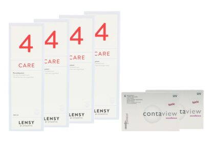 Contaview excellence toric UV 2 x 6 Monatslinsen + Lensy Care 4 Halbjahres-Sparpaket