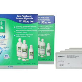 Lensy Monthly Smart Toric 4 x 6 Monatslinsen + Opti Free Pure Moist Jahres-Sparpaket