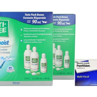 Pure Vision Multifocal 4 x 6 Monatslinsen + Opti Free Pure Moist Jahres-Sparpaket