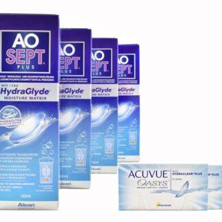 Acuvue Oasys 4 x 6 Zwei-Wochenlinsen + AoSept Plus HydraGlyde Halbjahres-Sparpaket