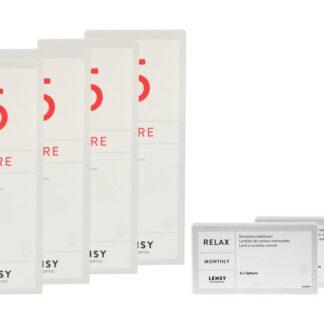 Lensy Monthly Relax Spheric 2 x 6 Monatslinsen + Lensy Care 5 Halbjahres-Sparpaket