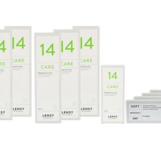 Lensy Monthly Soft Spheric 4 x 6 Monatslinsen + Lensy Care 14 Jahres-Sparpaket