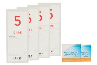 Pure Vision 2 HD For Astigmatism 2 x 6 Monatslinsen + Lensy Care 5 Halbjahres-Sparpaket